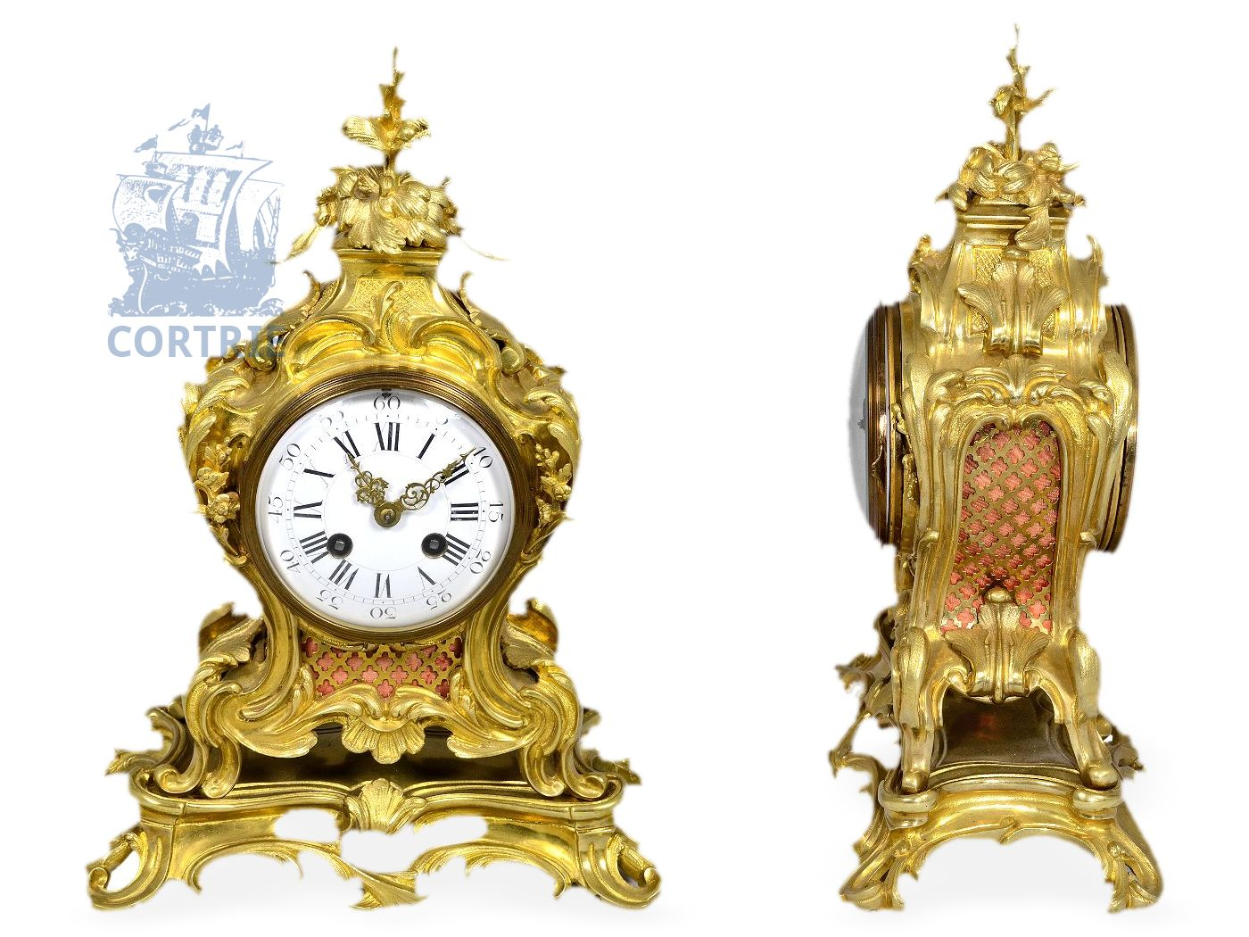 Table clock: very fine pendulum clock, Louis XV style (Ormolu Mantel Clock), signed Marti et Cie, Médaille d'argent Paris 1889-