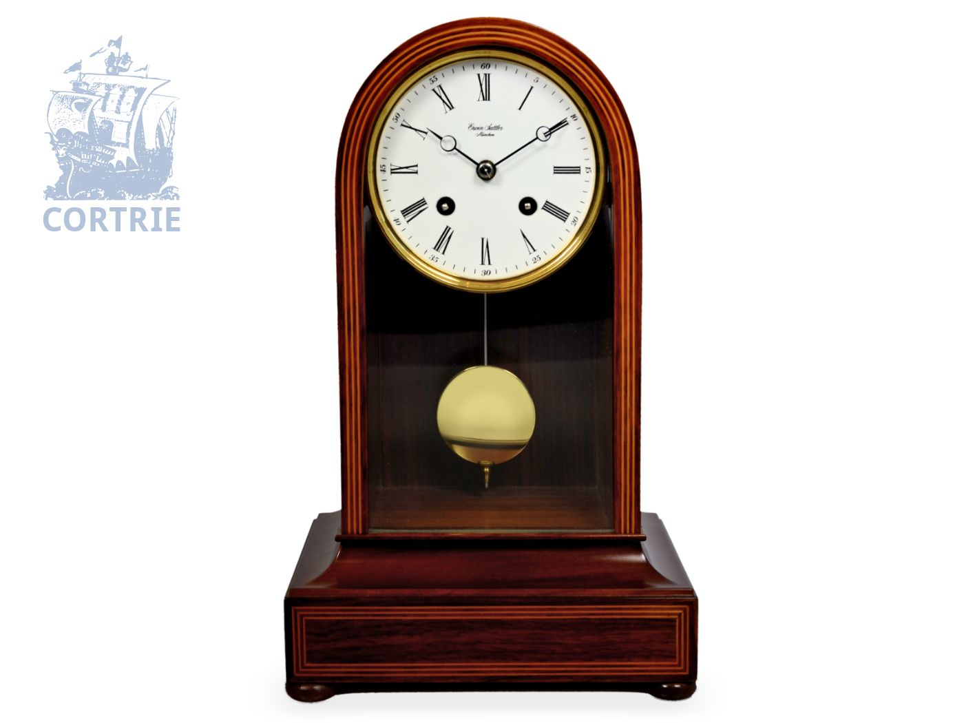 Table clock: fine Sattler clock, Erwin Sattler Munich, ref. 1113, Parisian striking, 8-days-movement, like new, original box and certificate-