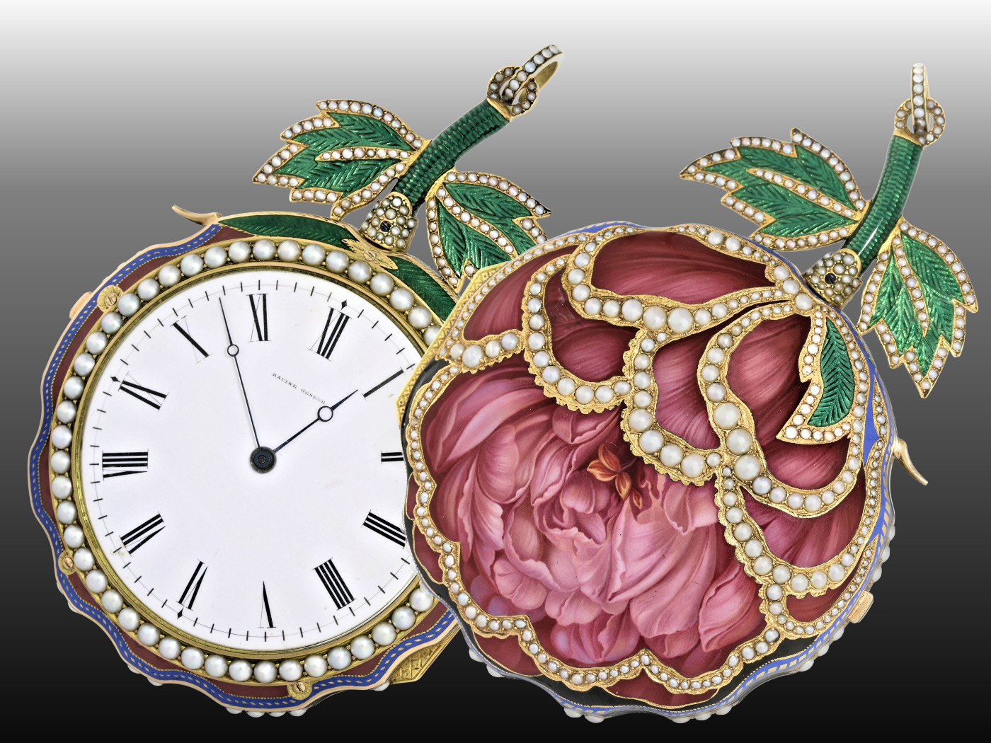 "Pocketwatch : Extremely fine and extremely rare enamel watch ""The Peony"", attributed to Piguet et Meylan, Geneva, probably made for the Chinese Emperor, circa 1820, enamelled Grande Sonnerie movement-"