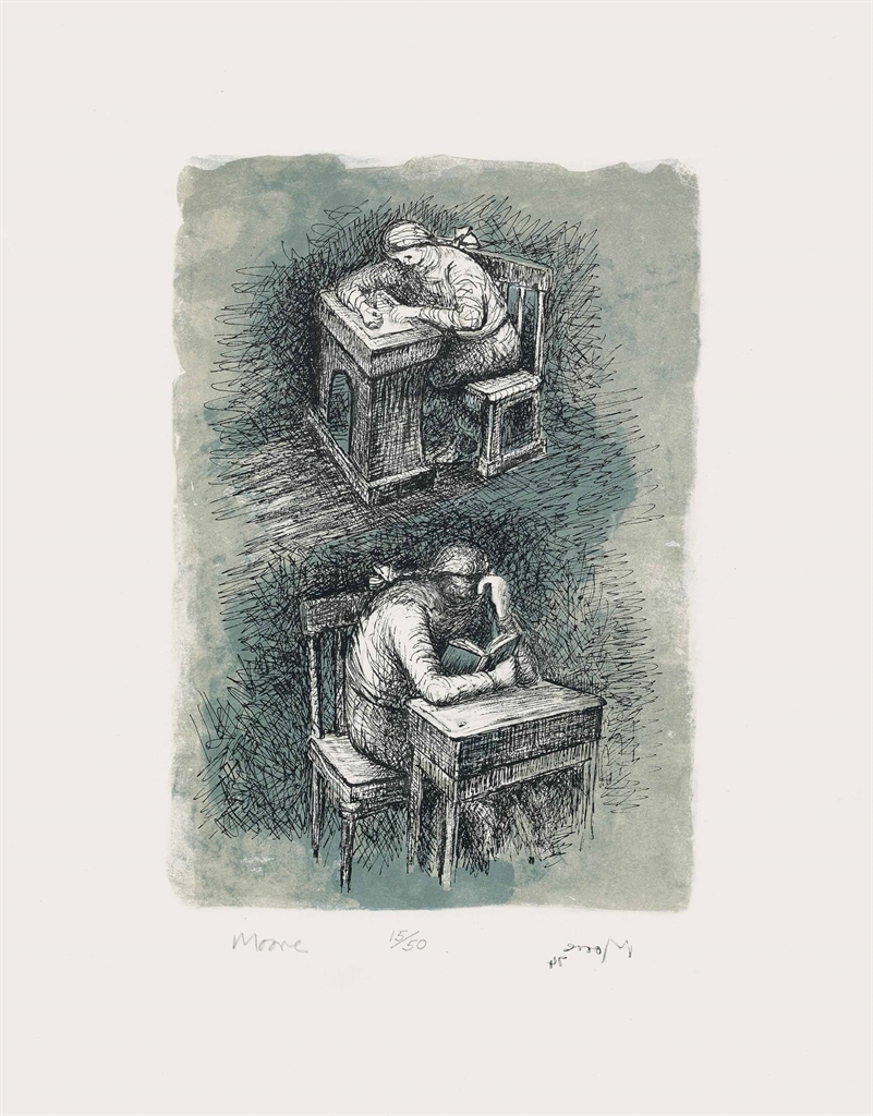 Henry Moore-Girl seated at Desk IX-1974