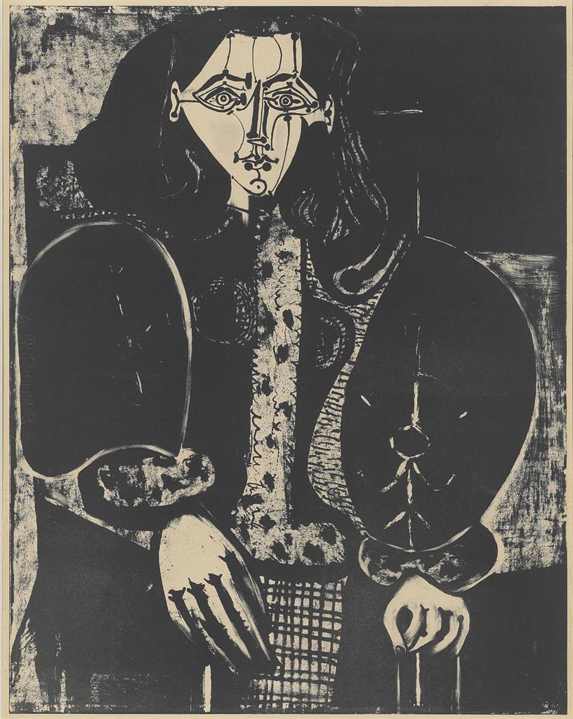 Pablo Picasso-Femme au fauteuil no. 1 (d'après le rouge)-1949