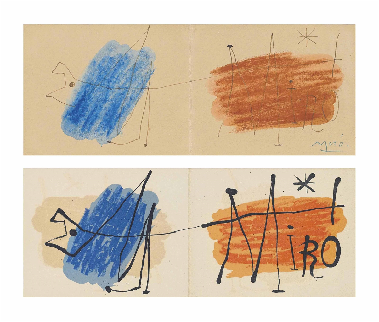 Joan Miro-Invitation Exhibition Galerie Matarasso Nice 1957: Preparatory drawing; Exhibition at the Galerie Matarasso-1957