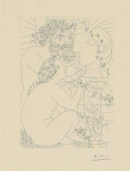 Pablo Picasso-Sculpteur modèle accroupi et tête sculptée from: La Suite Vollard-1933