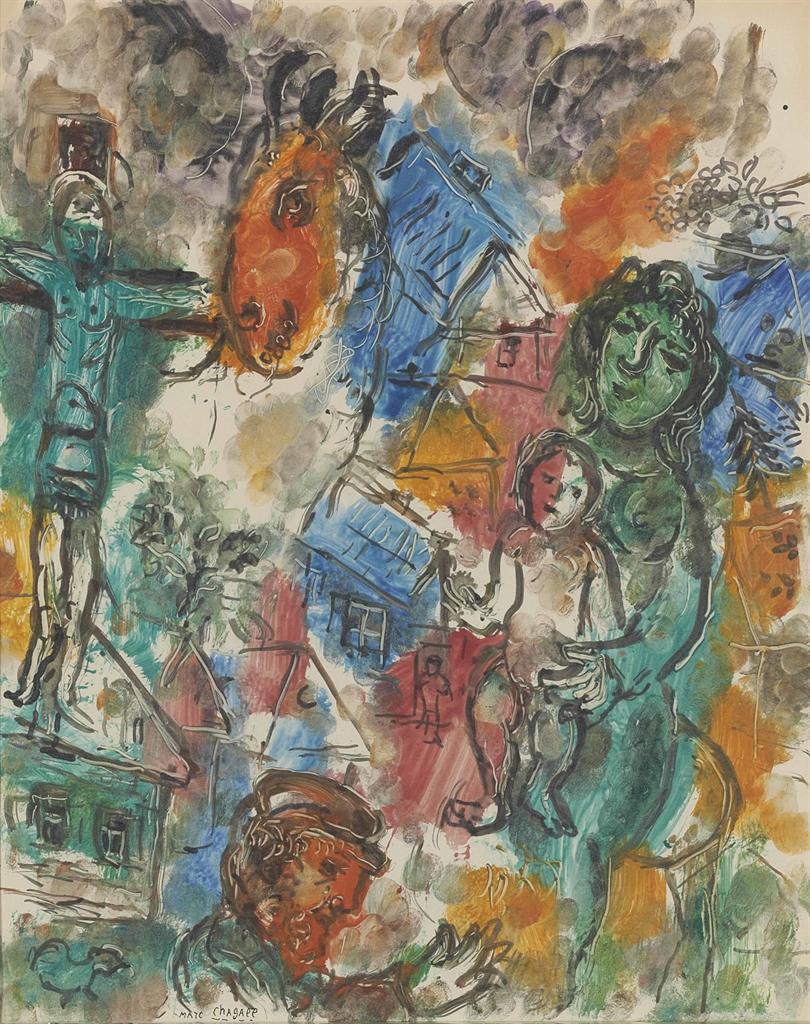 Marc Chagall-Le Christ au village-1966