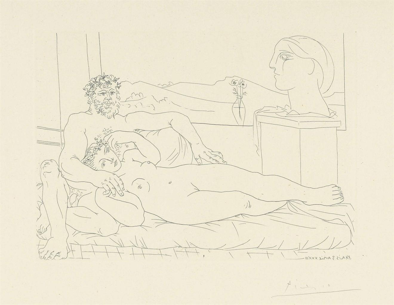 Pablo Picasso-Le repos du sculpteur II from: La Suite Vollard-1933