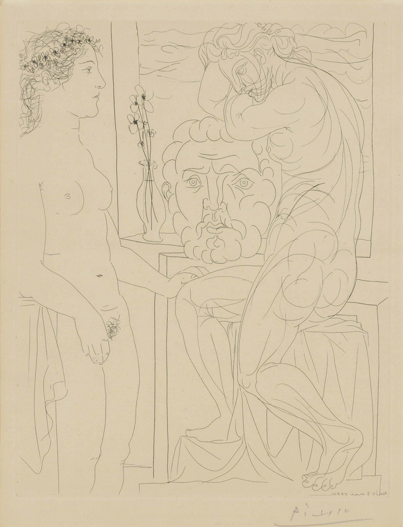 Pablo Picasso-Modèle nu et sculptures from: La Suite Vollard-1933