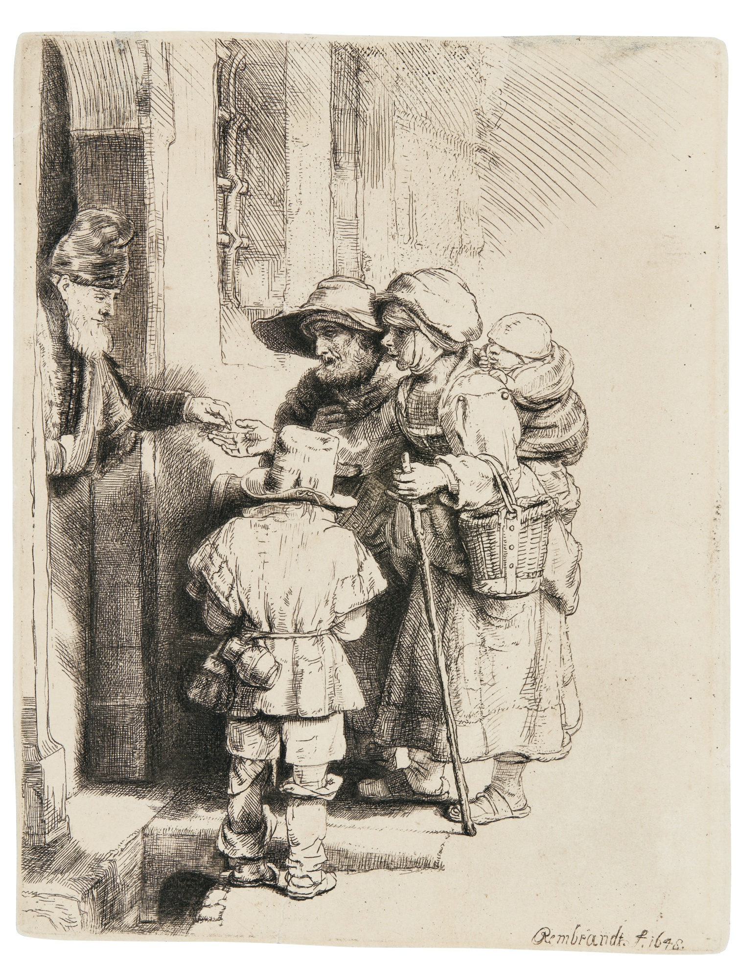 Rembrandt van Rijn-A Blind Hurdy-Gurdy Player And Family Receiving Alms (B. Holl. 176; New Holl. 243; H. 233)-1648