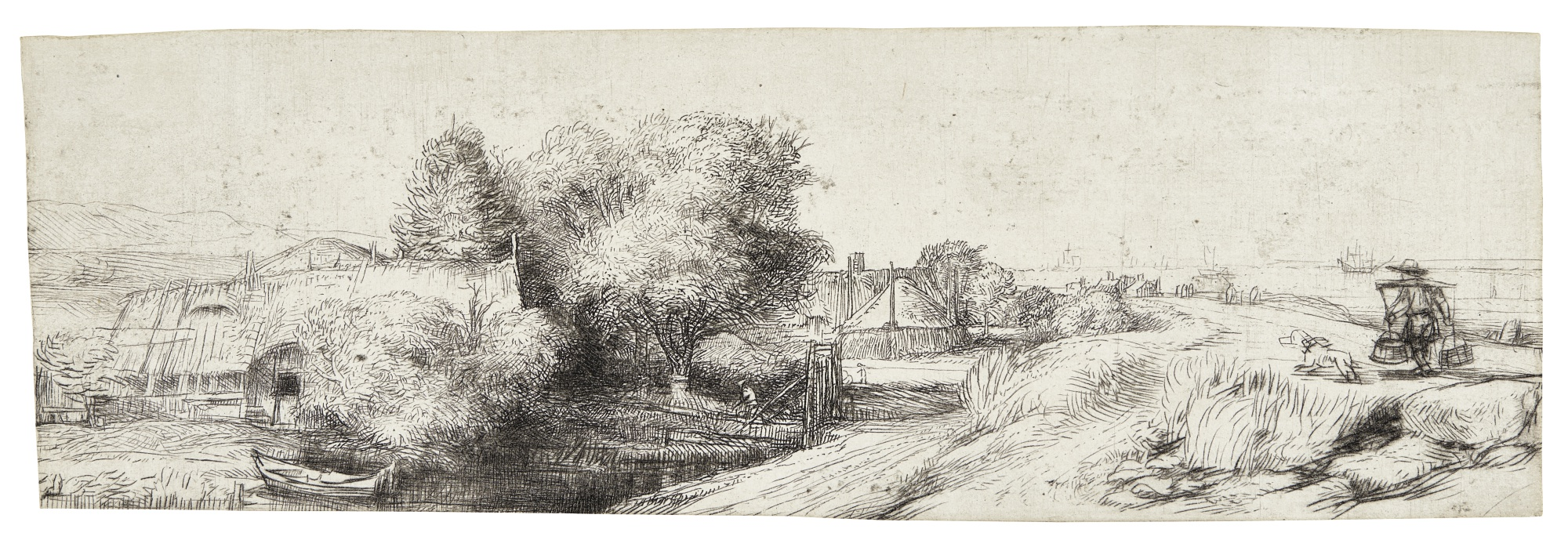 Rembrandt van Rijn-View Of The Diemerdijk With A Milkman And Cottages ('Het Melkboertje') (B. Holl. 213; New Holl. 255; H. 242)-1650
