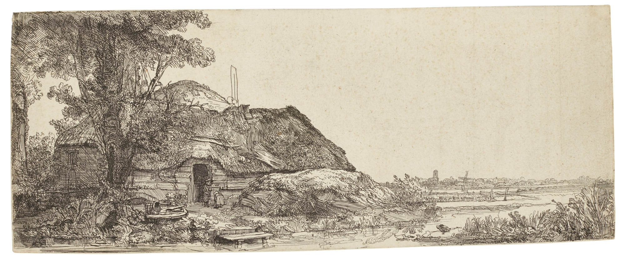 Rembrandt van Rijn-Landscape With A Cottage And A Large Tree (B. Holl. 226; New Holl. 198; H. 178)-1641