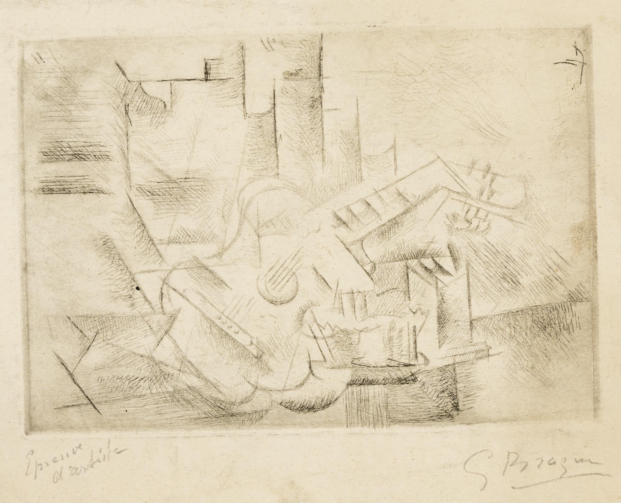 Georges Braque-Petite Guitare Cubiste (Guitare Sur Une Table) (V. 2)-1910