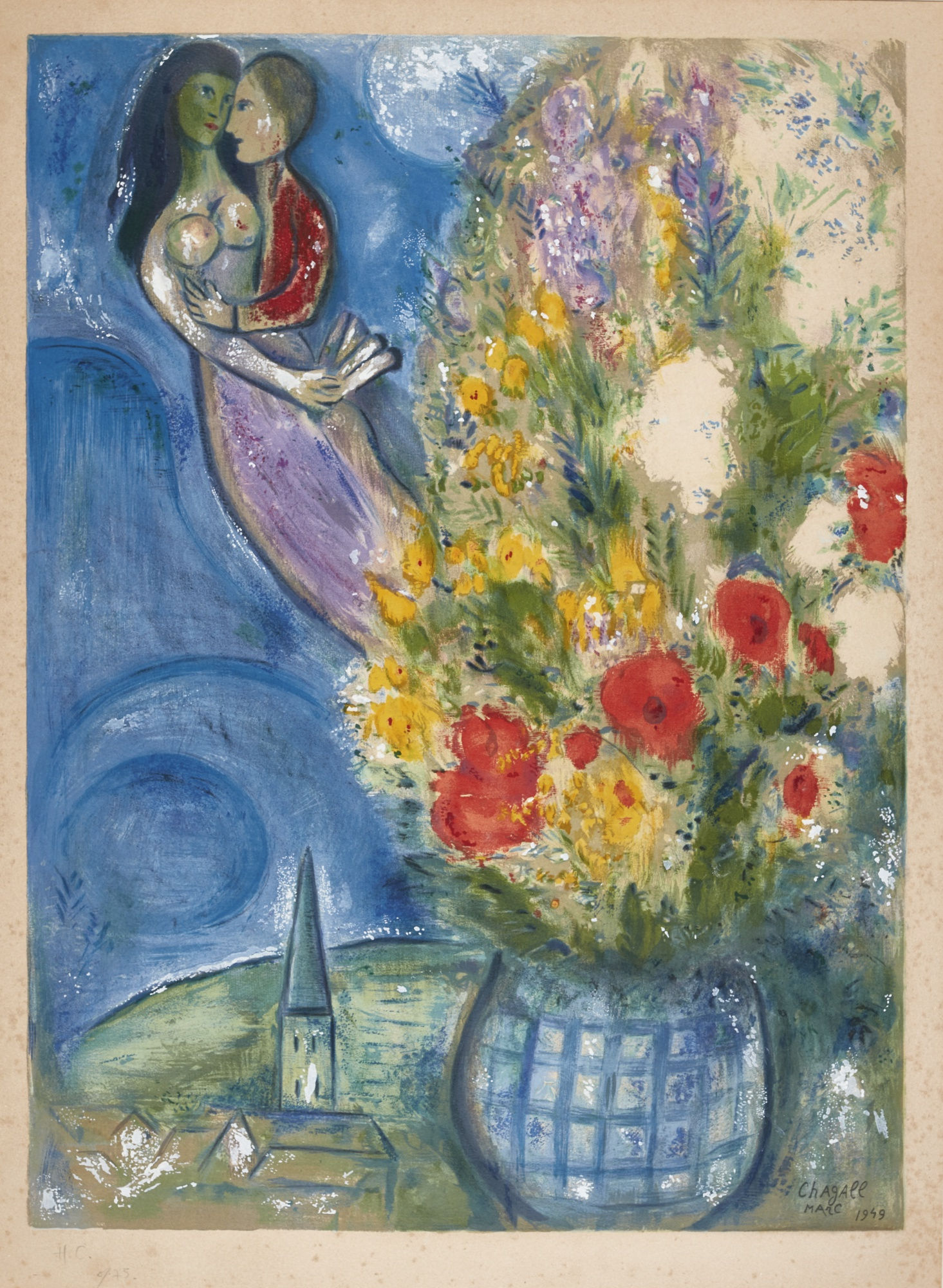 Charles Sorlier-After Marc Chagall - Red Poppies (M. Cs 2)-1949