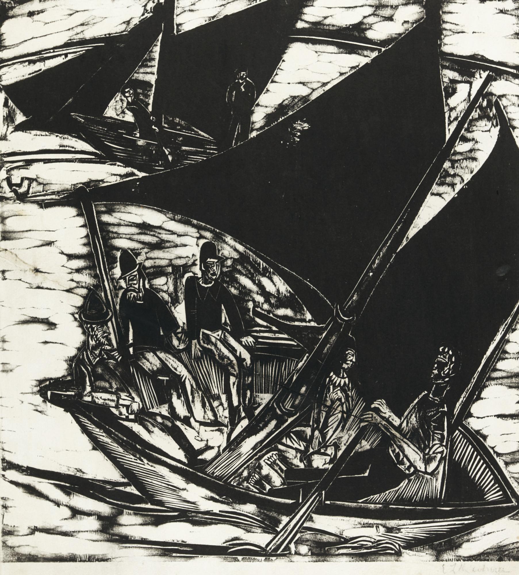 Ernst Ludwig Kirchner-Segelboote Bei Fehmarn (G. 710; D. 243)-1914
