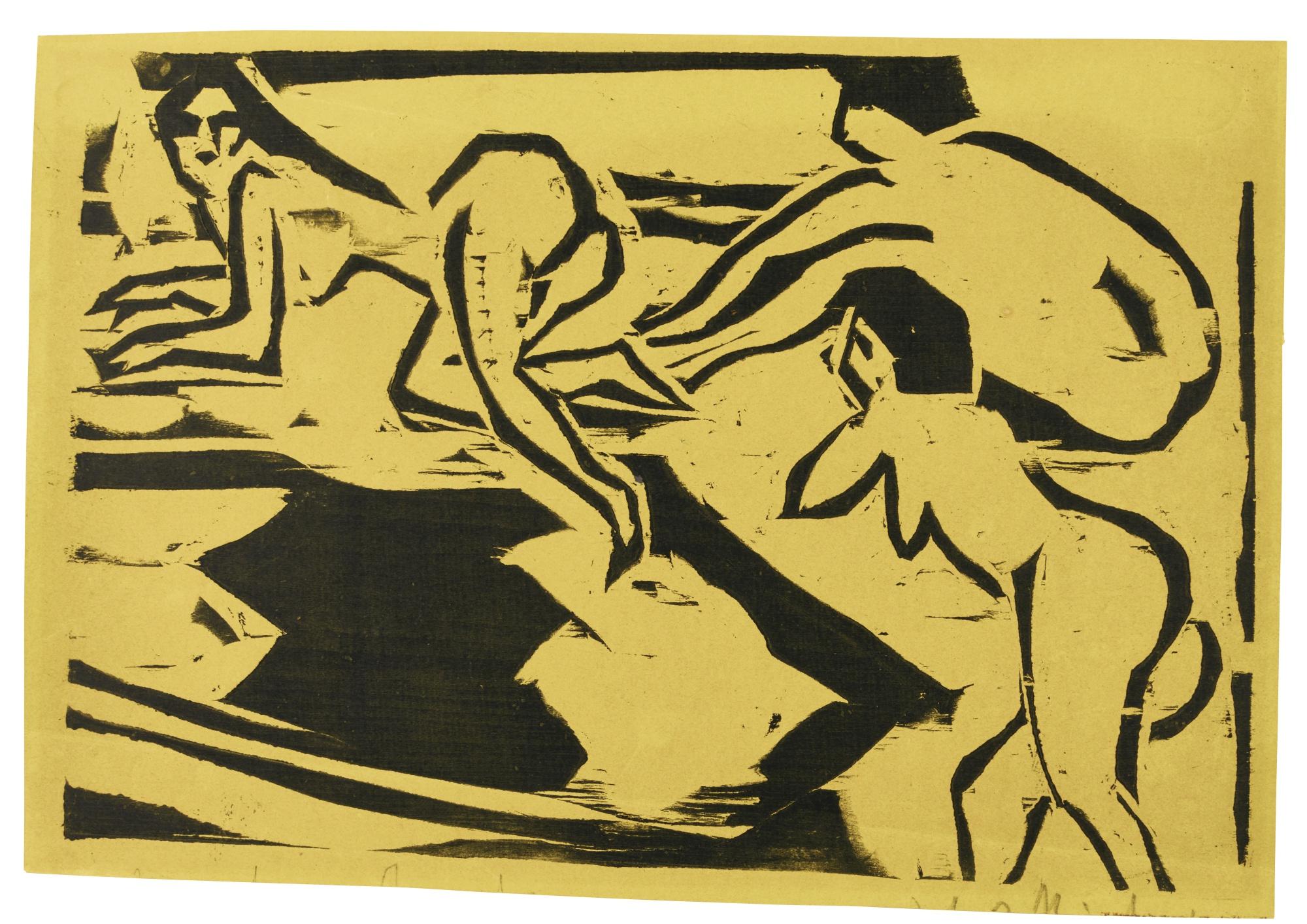 Ernst Ludwig Kirchner-Akte Auf Einem Teppich(G. 448; D. 159)-1910