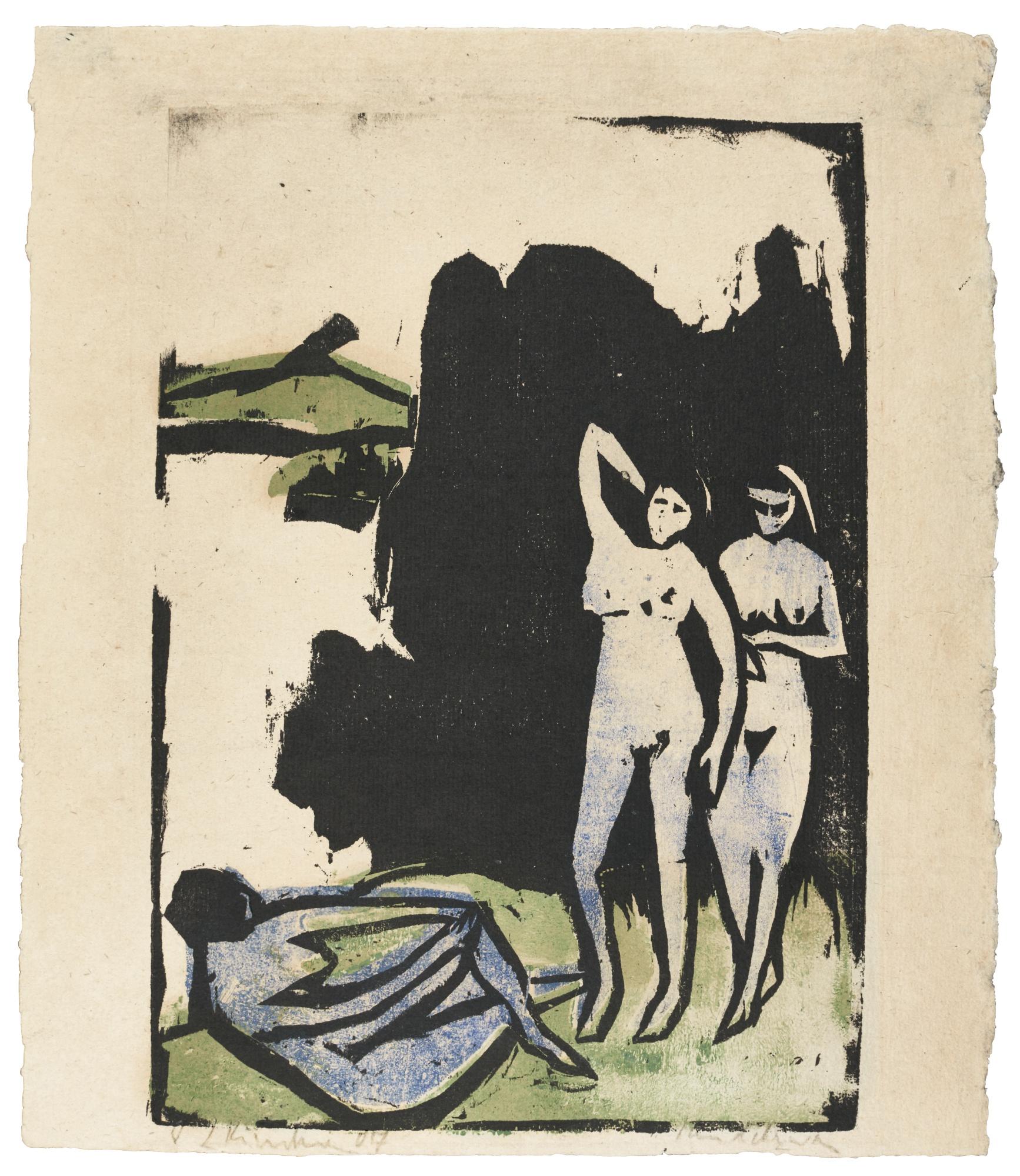 Ernst Ludwig Kirchner-Drei Badende Moritzburg(G. 449; D. 163)-1910