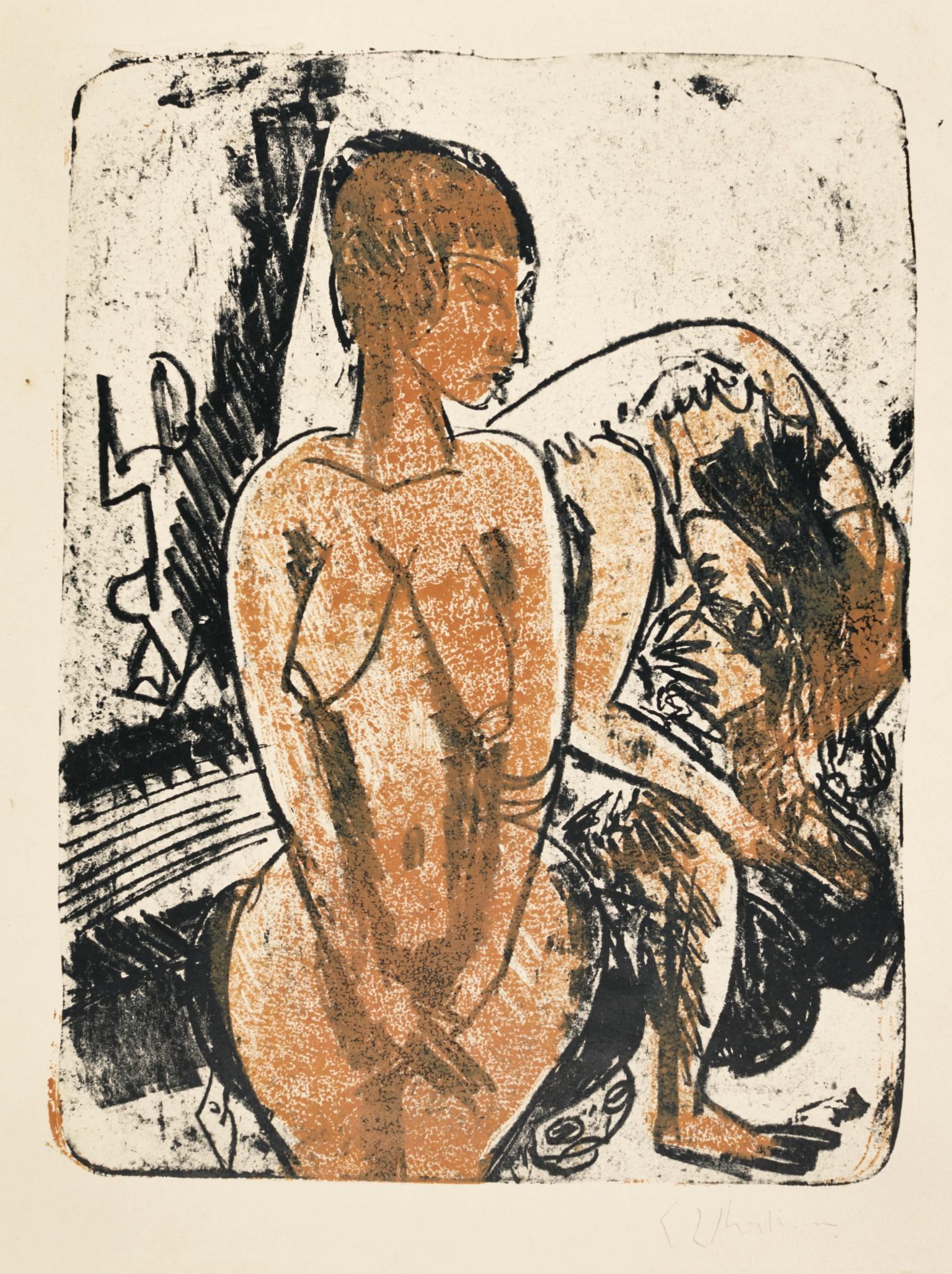 Ernst Ludwig Kirchner-Zwei Frauen(G. 681; D. 259)-1914