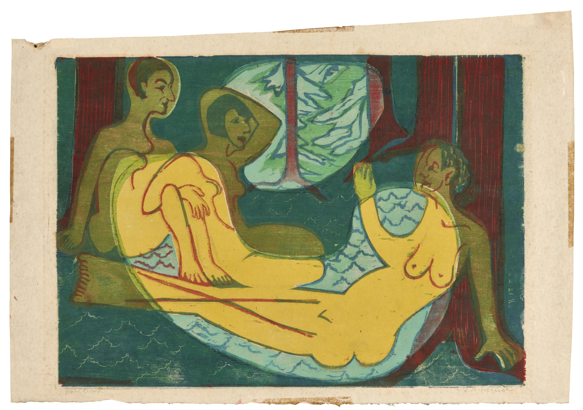 Ernst Ludwig Kirchner-Drei Akte Im Walde(D. 637)-1933