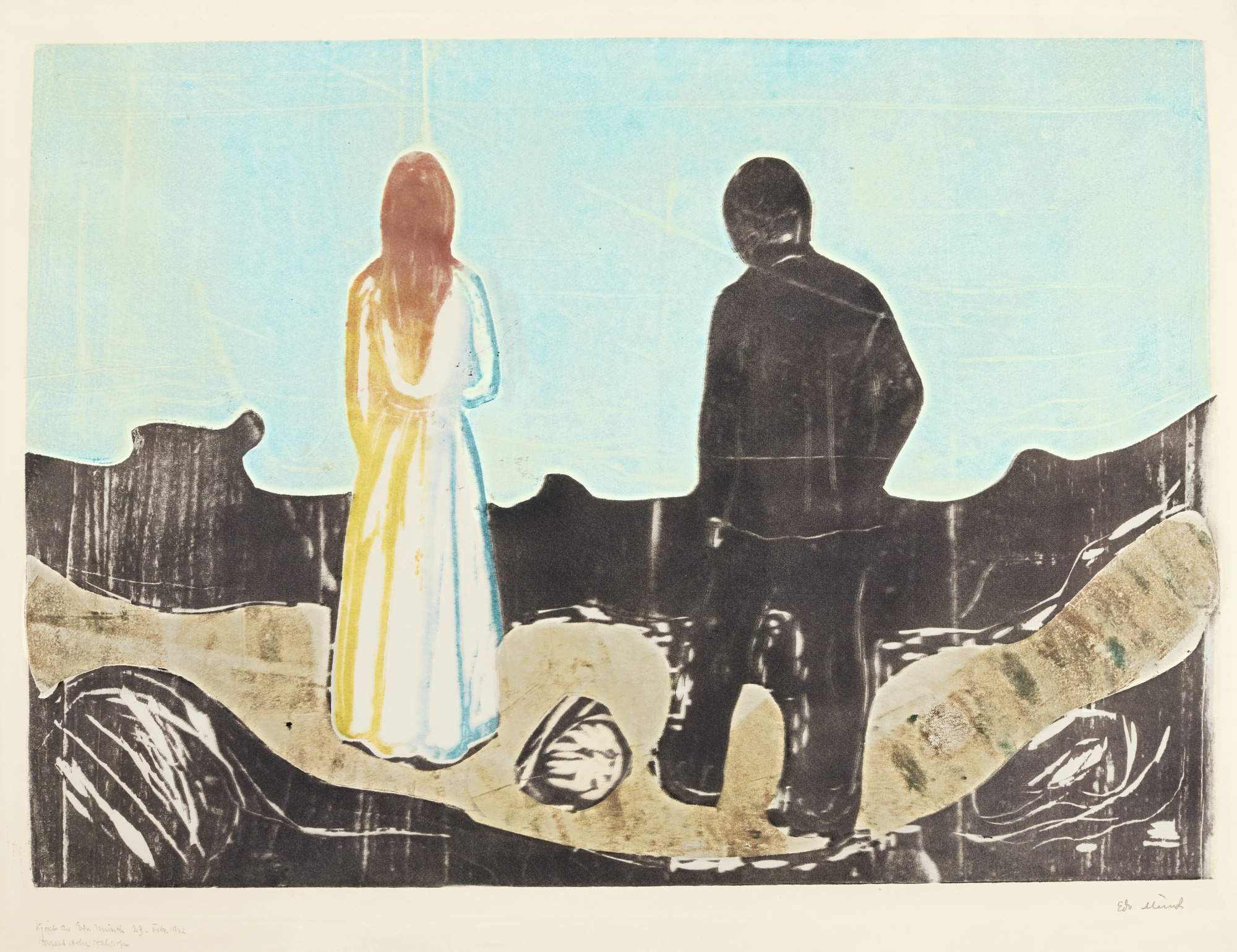 Edvard Munch-Two Human Beings. The Lonely Ones (W. 157; Sch. 133)-1899
