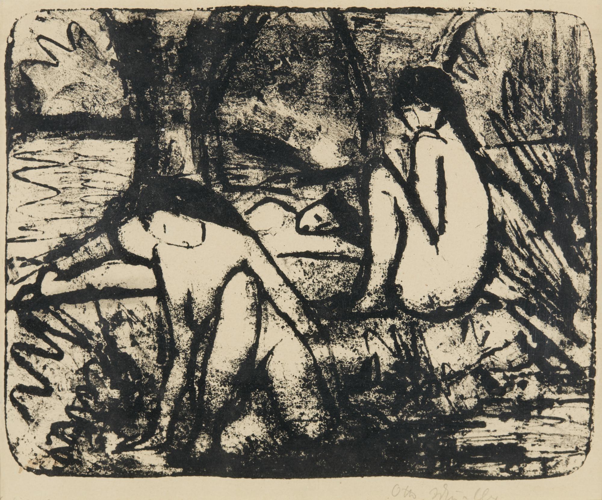 Otto Mueller-Zwei Sitzende MÄ Dchen Vor Liegender Figur (Karsch 64)-1914