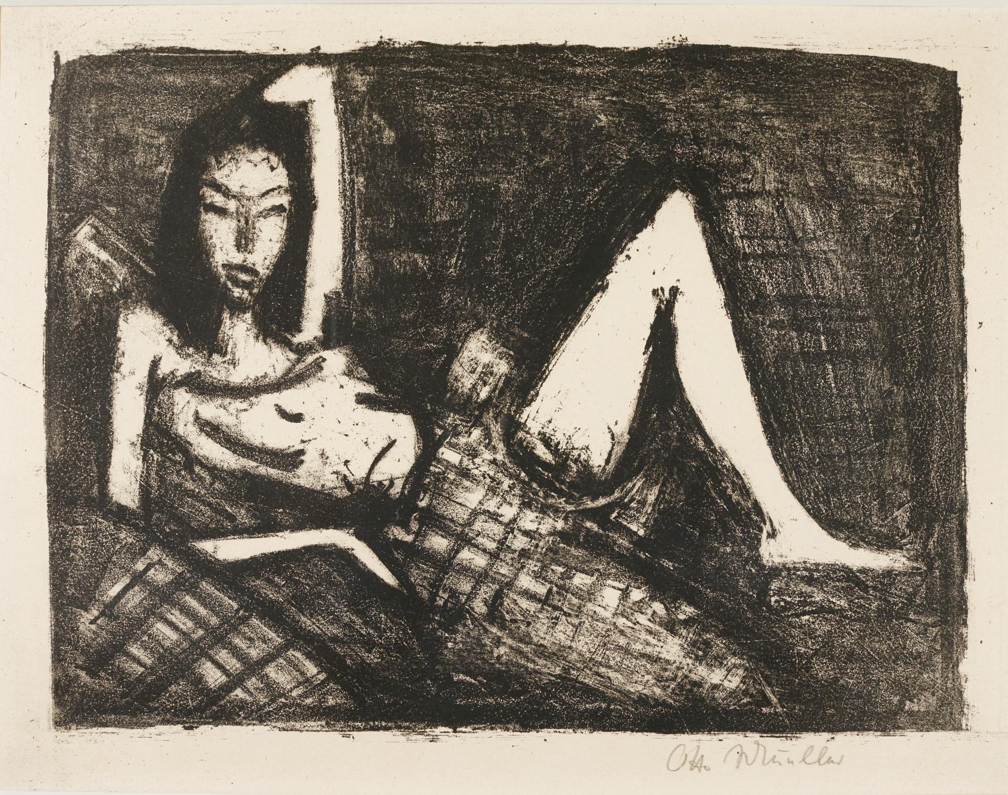 Otto Mueller-MÄDchen Auf Dem Kanapee (K. 146)-1921