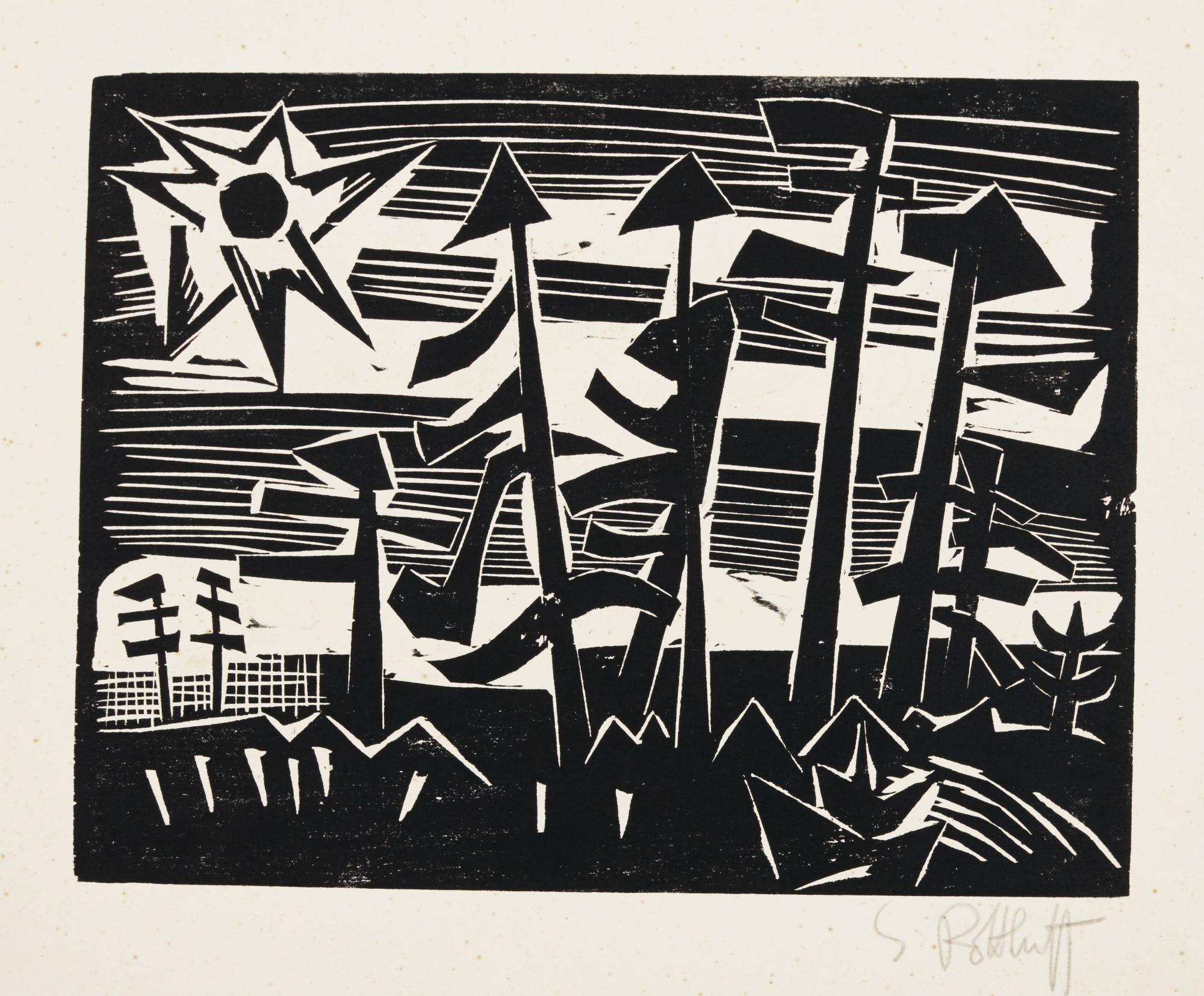 Karl Schmidt-Rottluff-Russische Landschaft (Schapire H230)-1918