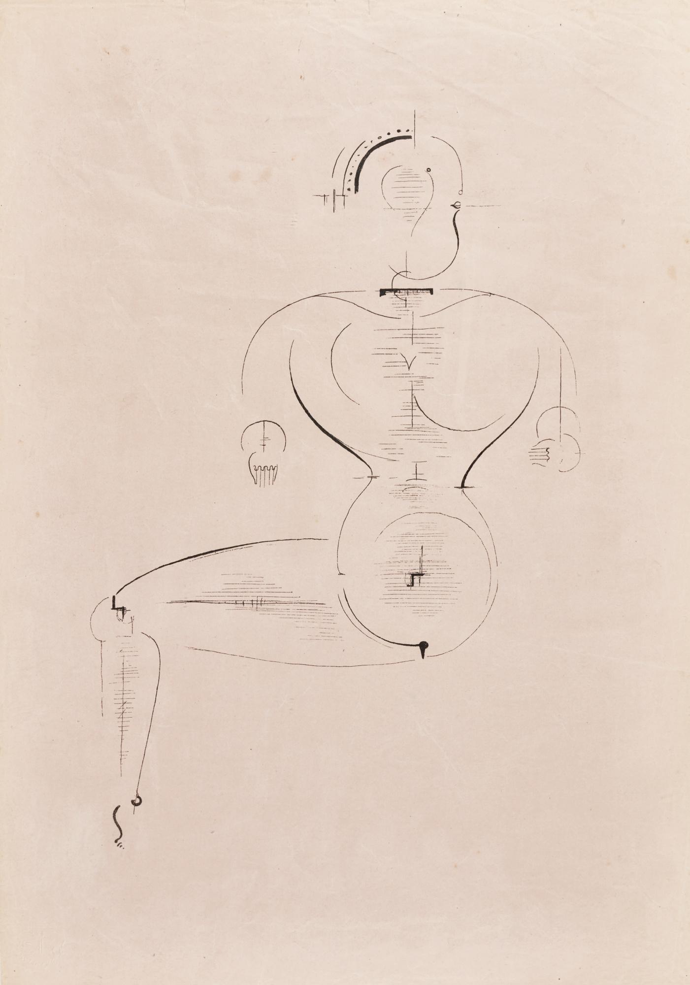 Oskar Schlemmer-Figur Von Der Seite (Figur H2 Sitzende); AndKonzentrische Gruppe (Figurenplan K 1)(Grohmann Gl 7& 8)-1921