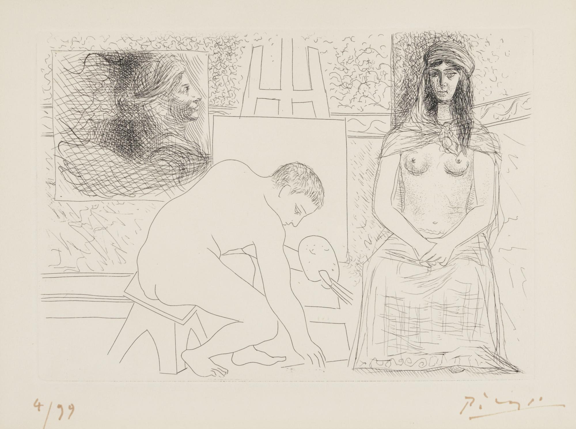 Pablo Picasso-Peintre Ramassant Son Pinceau (B. 88; Ba. 129; See C. Bks 20)-1927