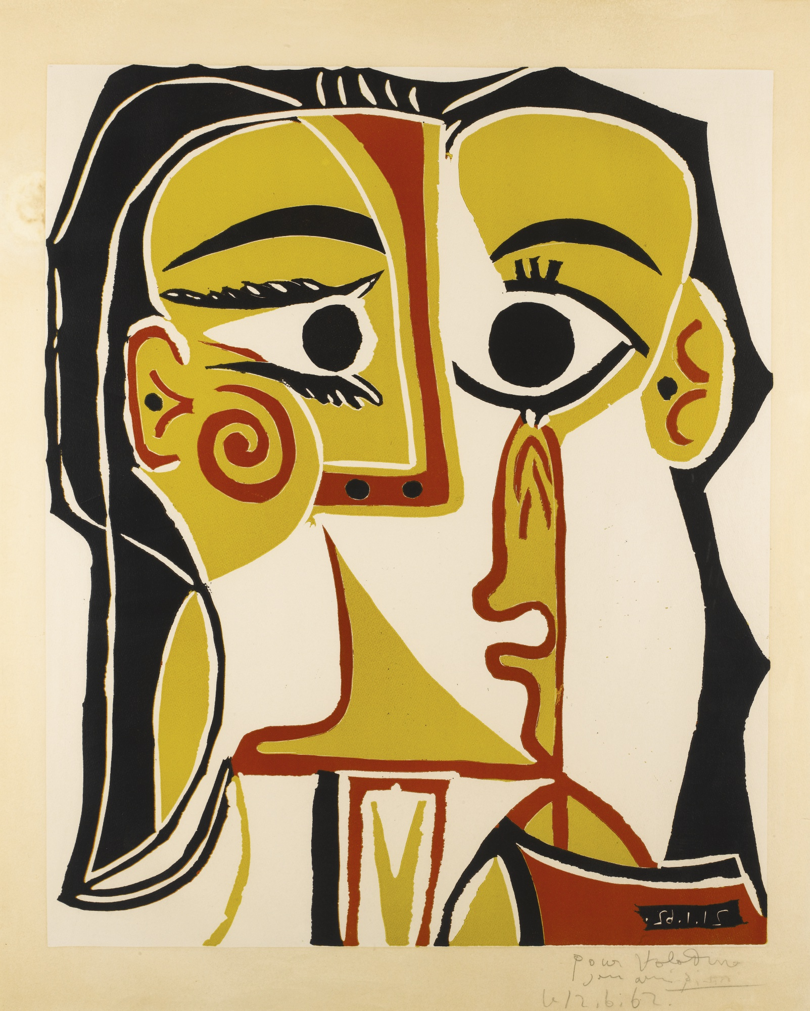 Pablo Picasso-Portrait StylisÉ De Jacqueline(B. 1065; Ba. 1285)-1962