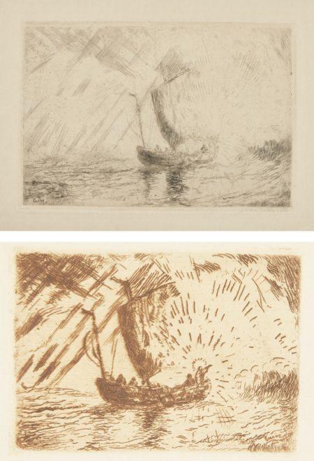 James Ensor-Le Christ Apaisant La TempÊTe (D. T. E.5);And Le Christ Dans La Barque(D. T.113; E. 117)-1898