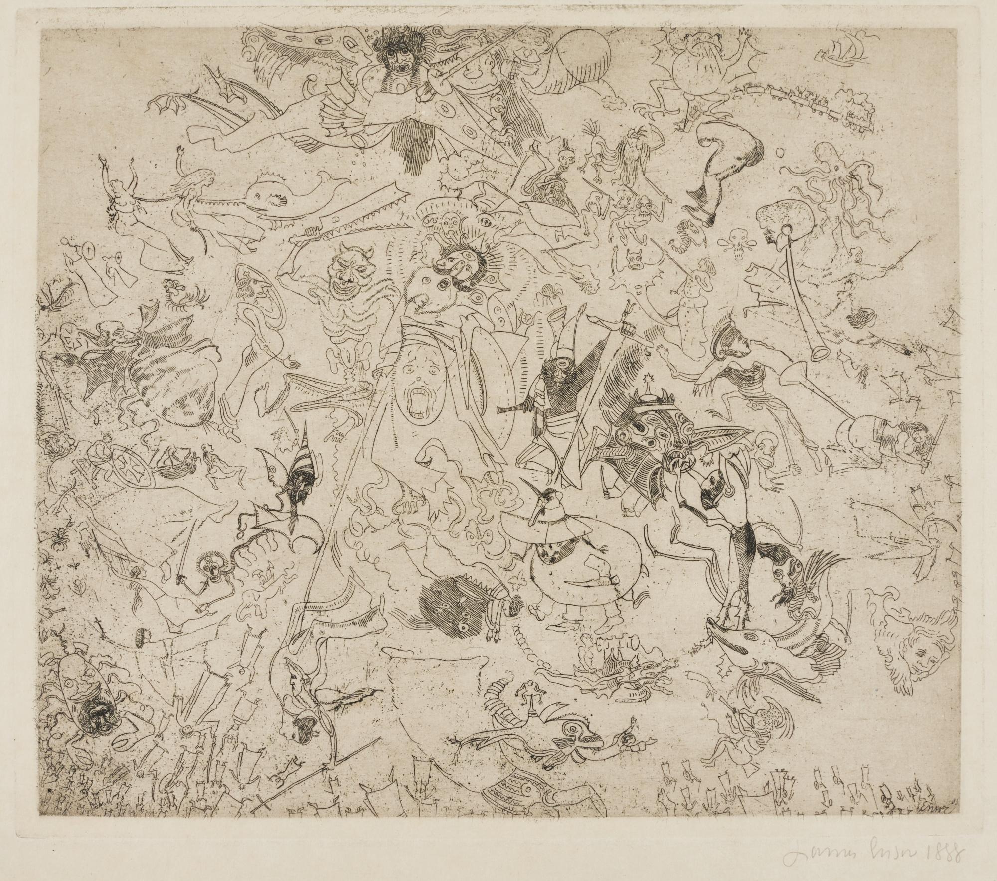 James Ensor-Diables Rossant Anges Et Archanges (D. T.E.23)-1888