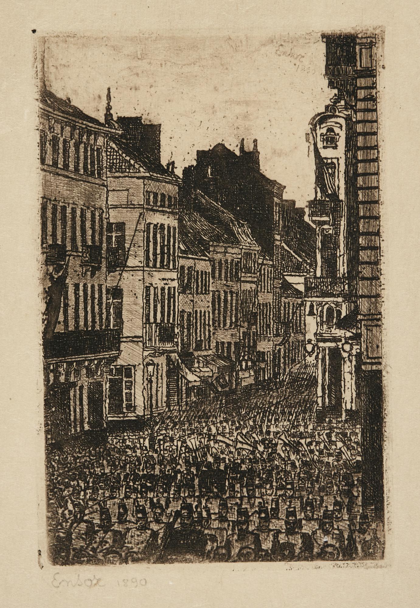 James Ensor-Boulevard Van Isenghem Ostend; La Musique Rue De Flandre Ostende (D. T. E.66; 83); And Les Toits À Ostende (D. T. 120; E. 125)-1903