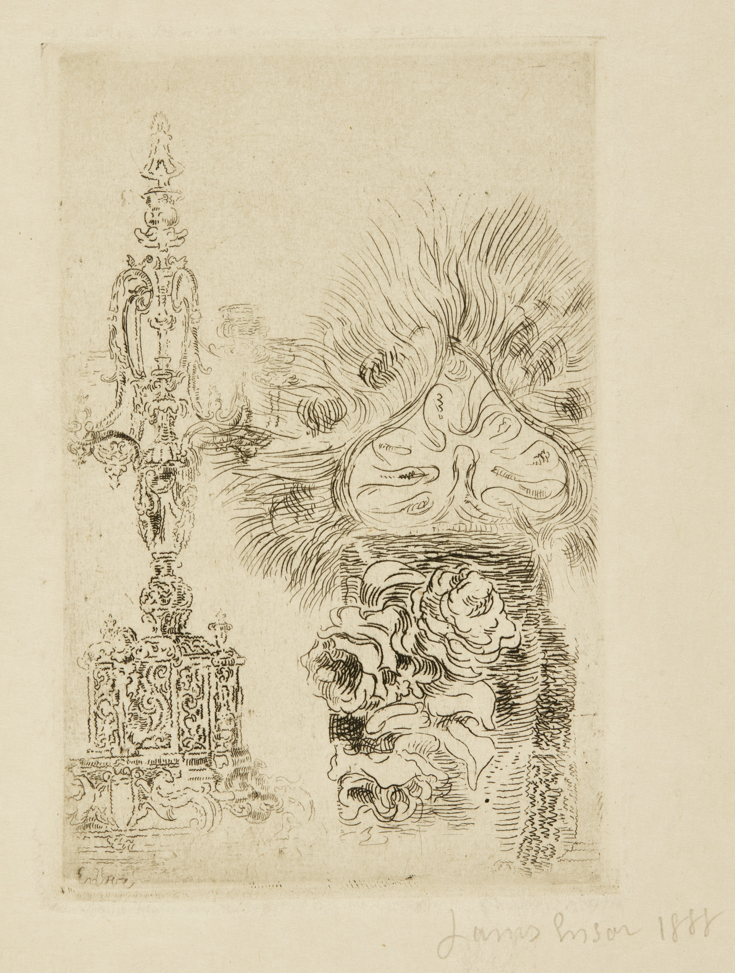 James Ensor-Buste; La ChimÈRe; And CandÉLabre Et Vase (D. T. E. 18 25 31)-1888