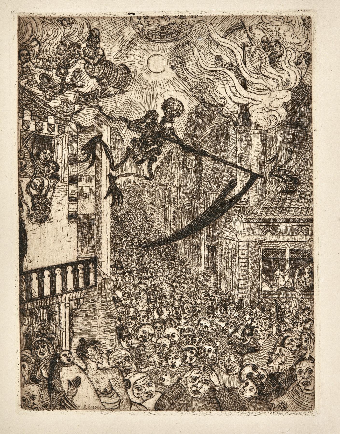 James Ensor-La Mort Poursuivant Le Troupeau Des Humains (D. T. 104; E. 106)-1896