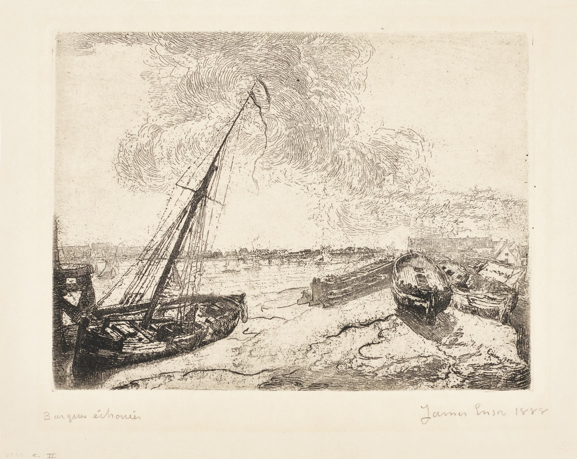 James Ensor-Chaloupes; Barques ÉChouÉEs (D. T. E.44 49); And Les Petites Barques(D. 87; T. E. 89)-1894