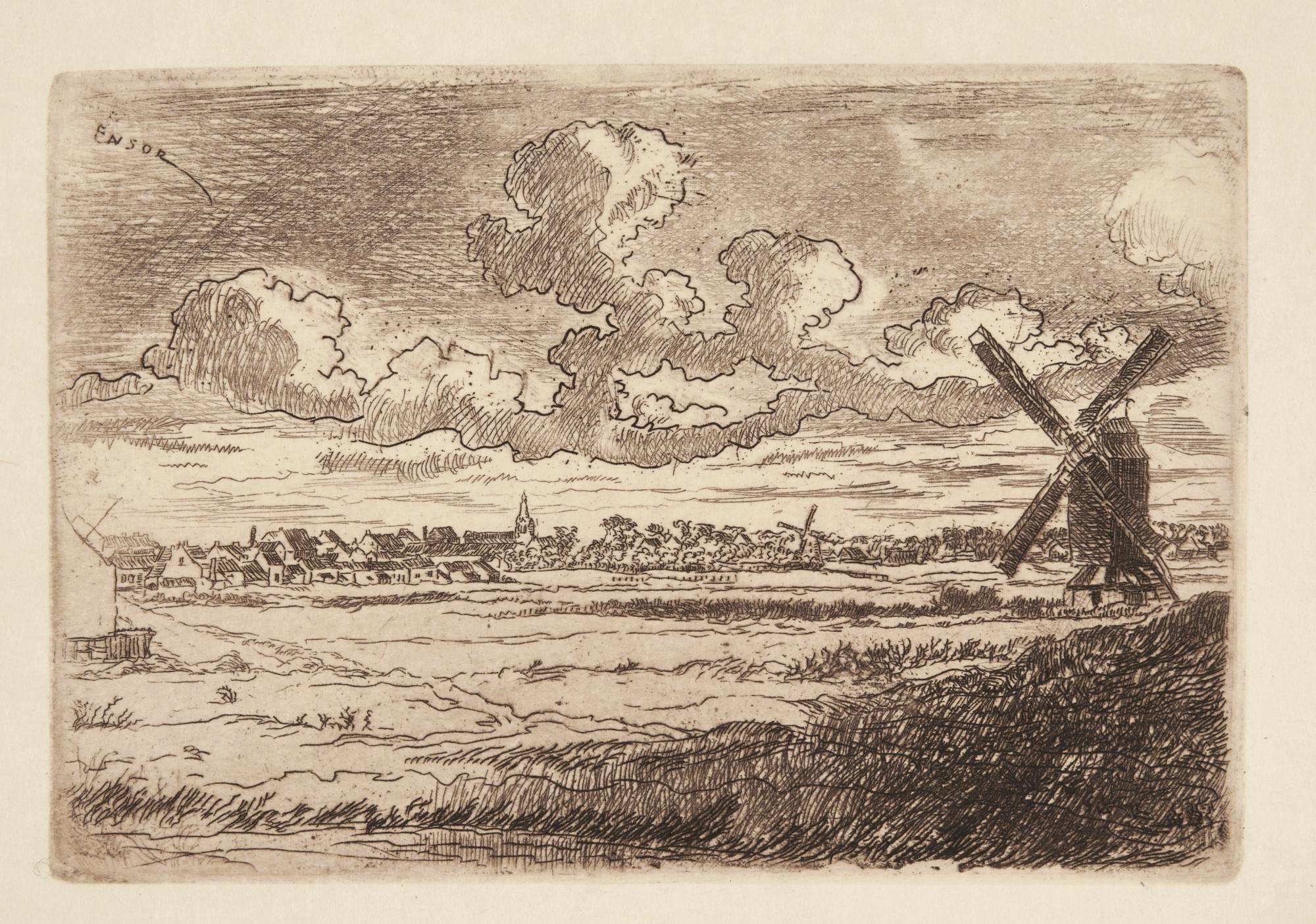 James Ensor-ChaumiÈRes; L'Orage; La Mare Aux Peupliers (D. T. E.50 70 74); And Moulin À Slykens (D. 82; T. E. 84)-1891