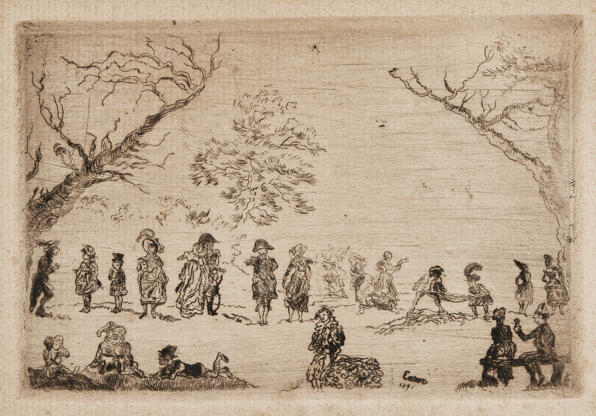 James Ensor-AssemblÉE Dans Un Parc (D. 84; T.E. 86)-1891