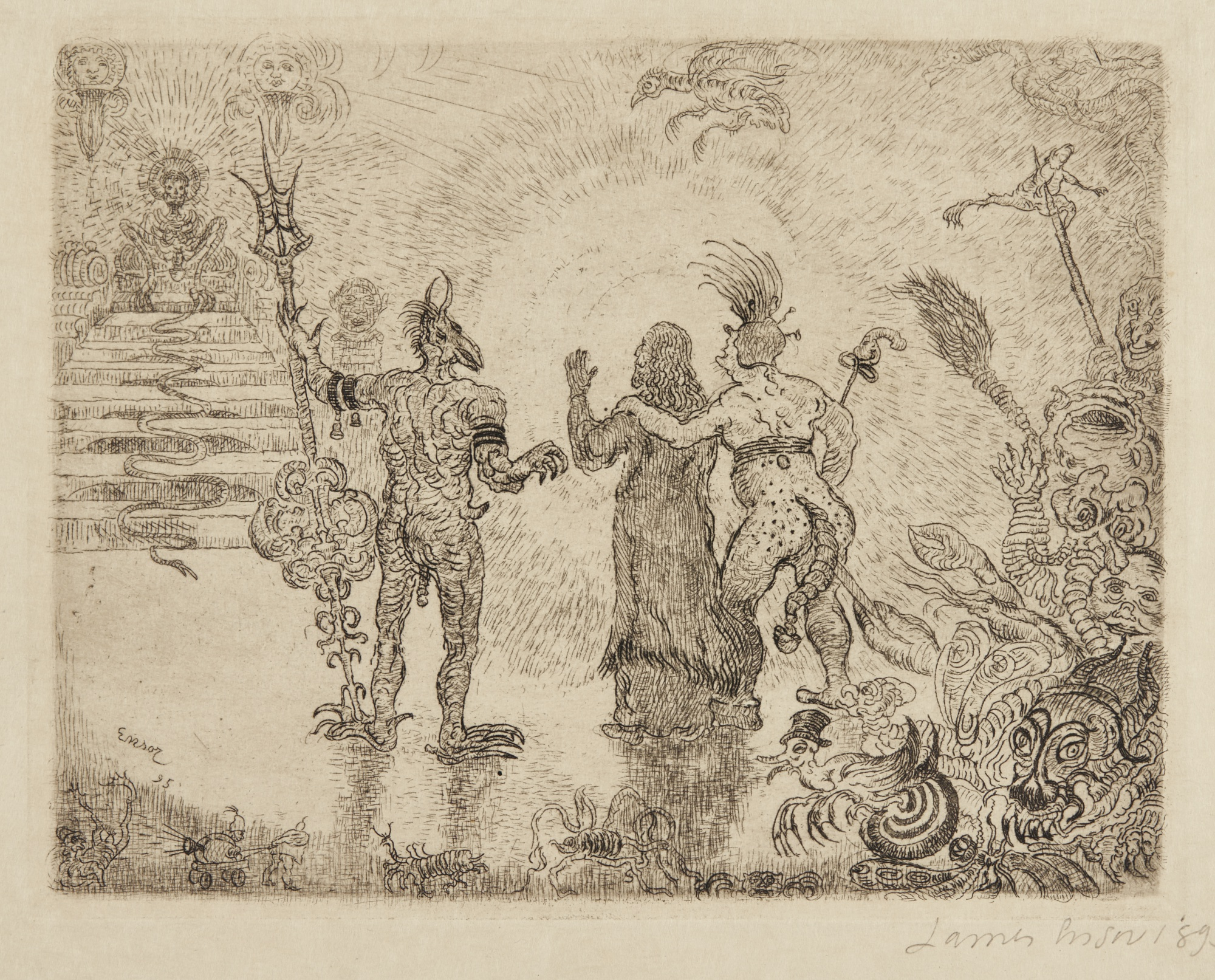 James Ensor-Les Diables Dzitts Et Hihanox Conduisant Le Christ Aux Enfers (D. 88; T. E. 90)-1895
