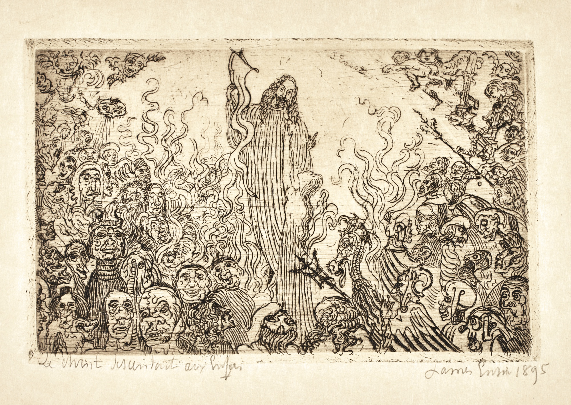 James Ensor-Le Christ Descendant Aux Enfers (D. T. 103; E. 105)-1895