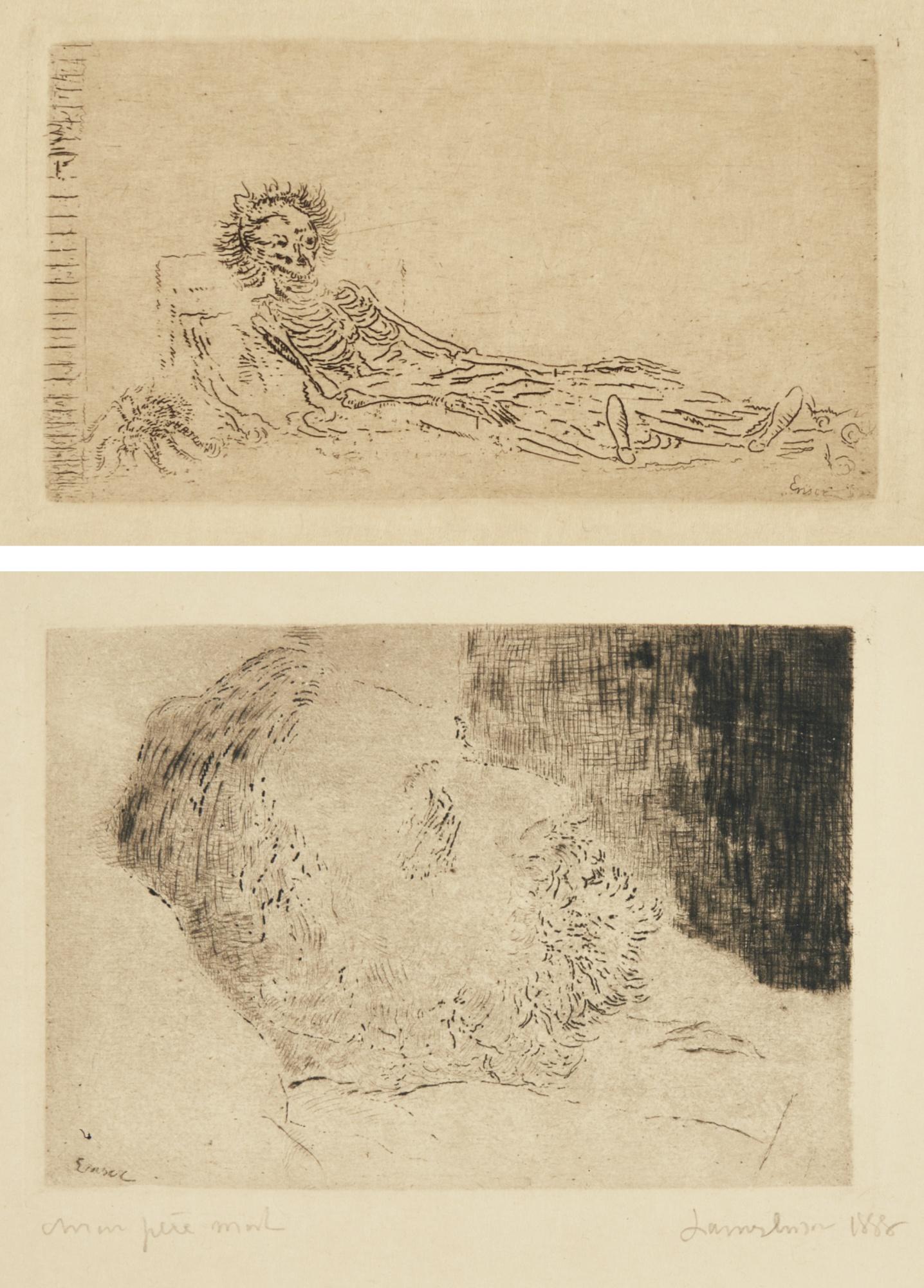 James Ensor-Mon Portrait En 1960; And Mon PÈRe Mort (D. T. E. 34 35); T. 35-1888