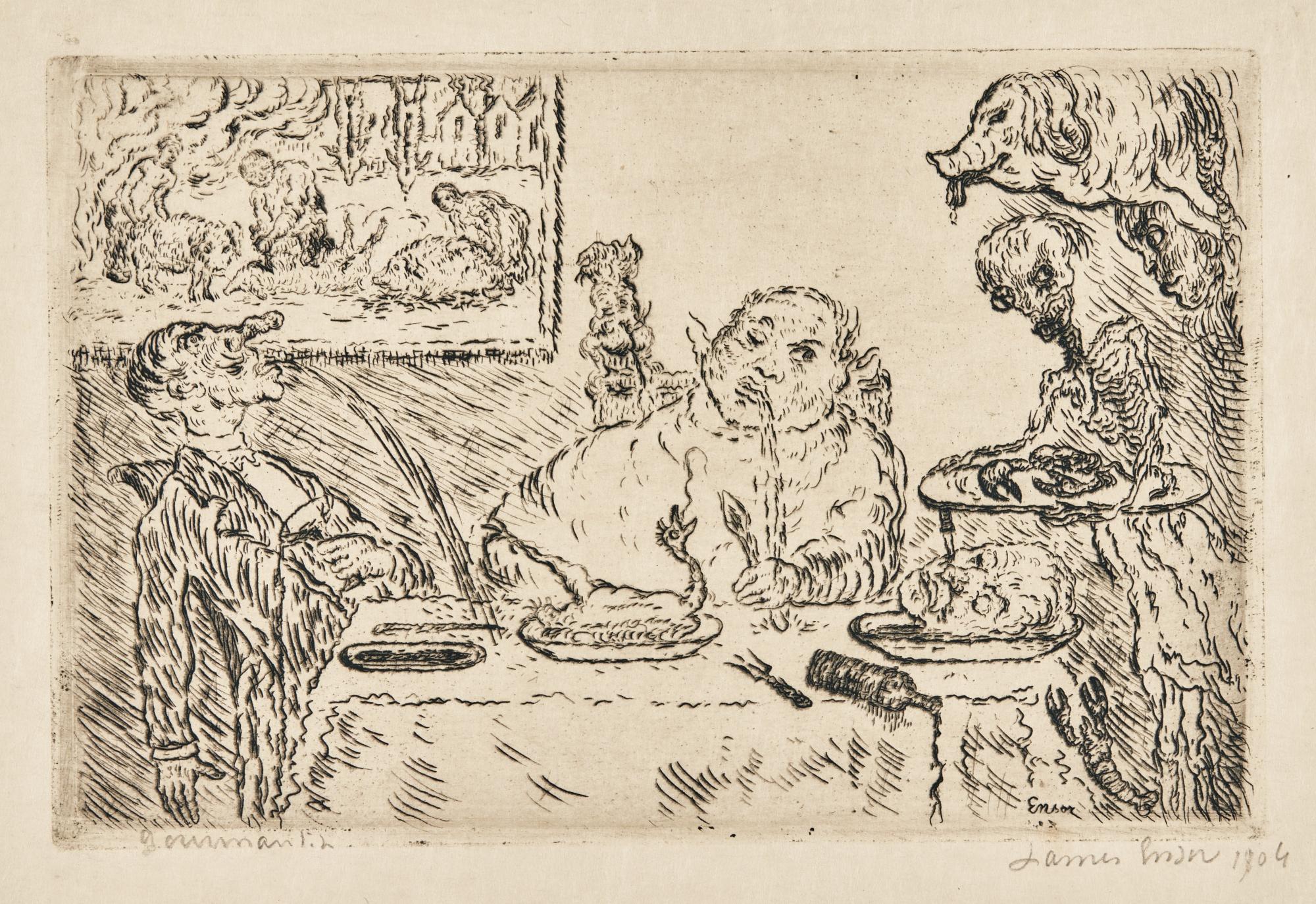 James Ensor-La Gourmandise(D. T. 124; E. 129)-1904