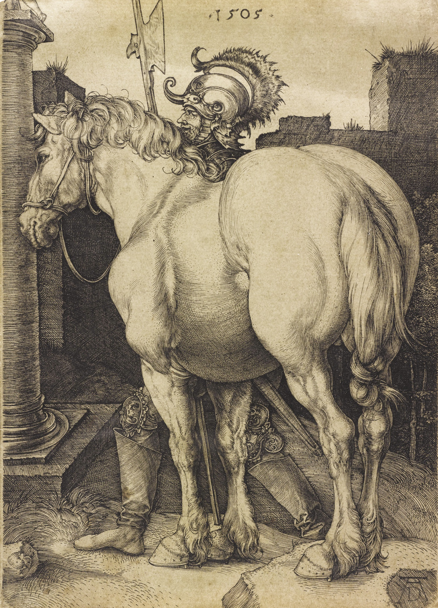 Albrecht Durer-The Large Horse  (B. 97; M. Holl. 94)-1505