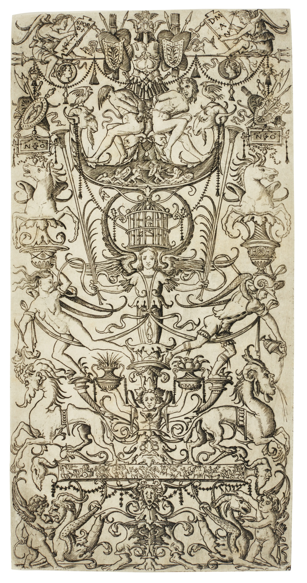 Nicoletto da Modena-Ornament Panel With Bound Slaves And A Birdcage (B. Vol. Xxv 56; B. Vol. Xxv Commentary 92; H. Vol. V. 105)-