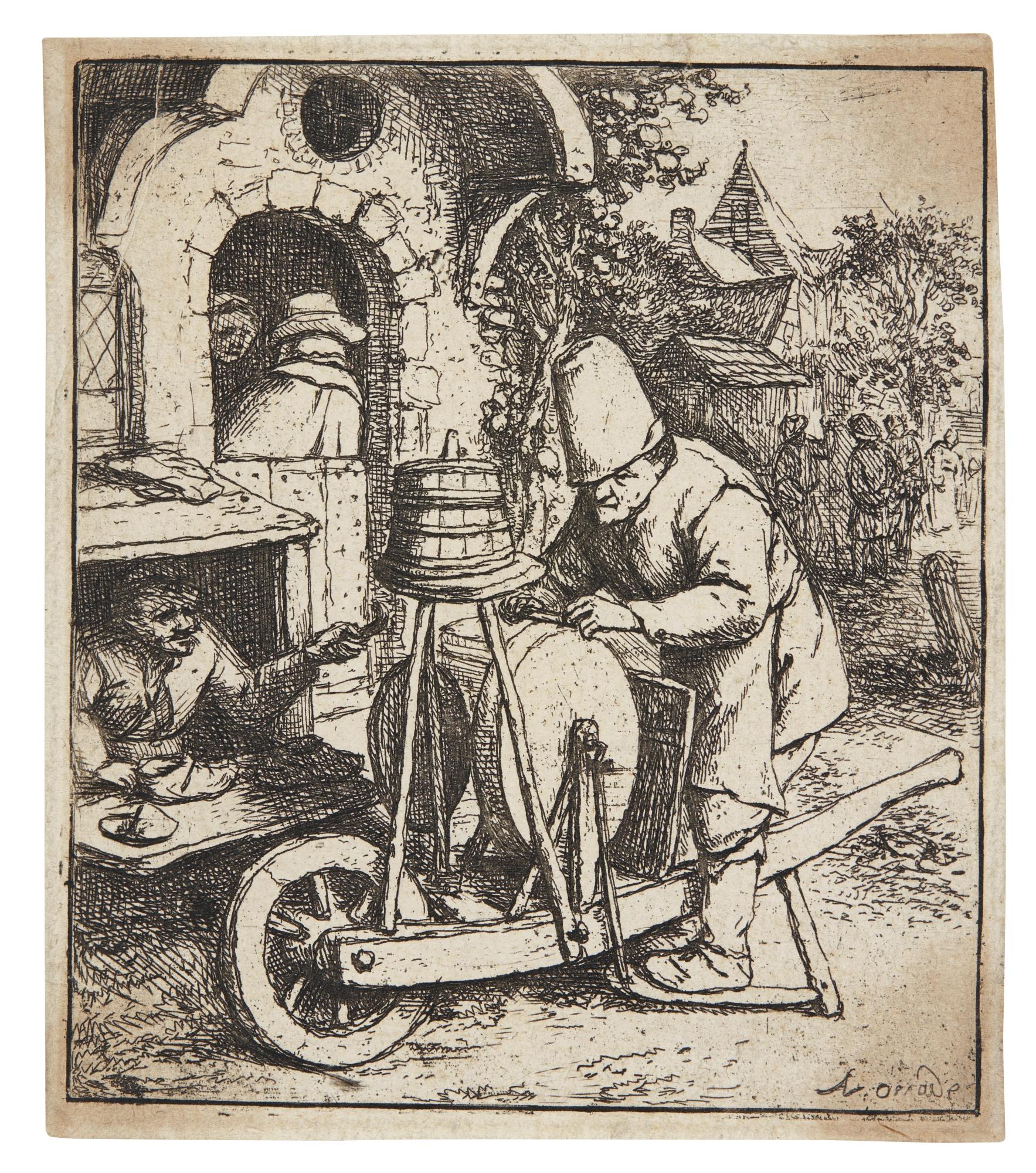 Adriaen van Ostade-The Smoker; The Barn; The Woman Spinning;The Knife Grinder (Hollstein Godefroy 5 2331 36)-1682