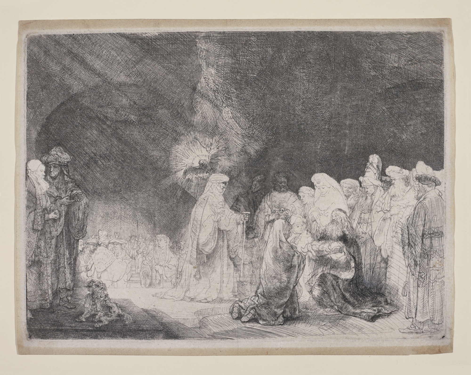 Rembrandt van Rijn-The Presentation In The Temple: Oblong Print (B. Holl. 49; New Holl. 184; H. 162)-1639