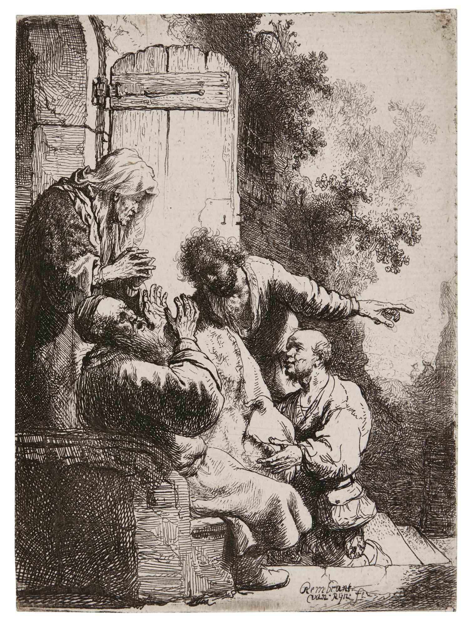 Rembrandt van Rijn-Joseph'S Coat Brought To Jacob (B. Holl. 38; New Holl. 122; H.104)-1633