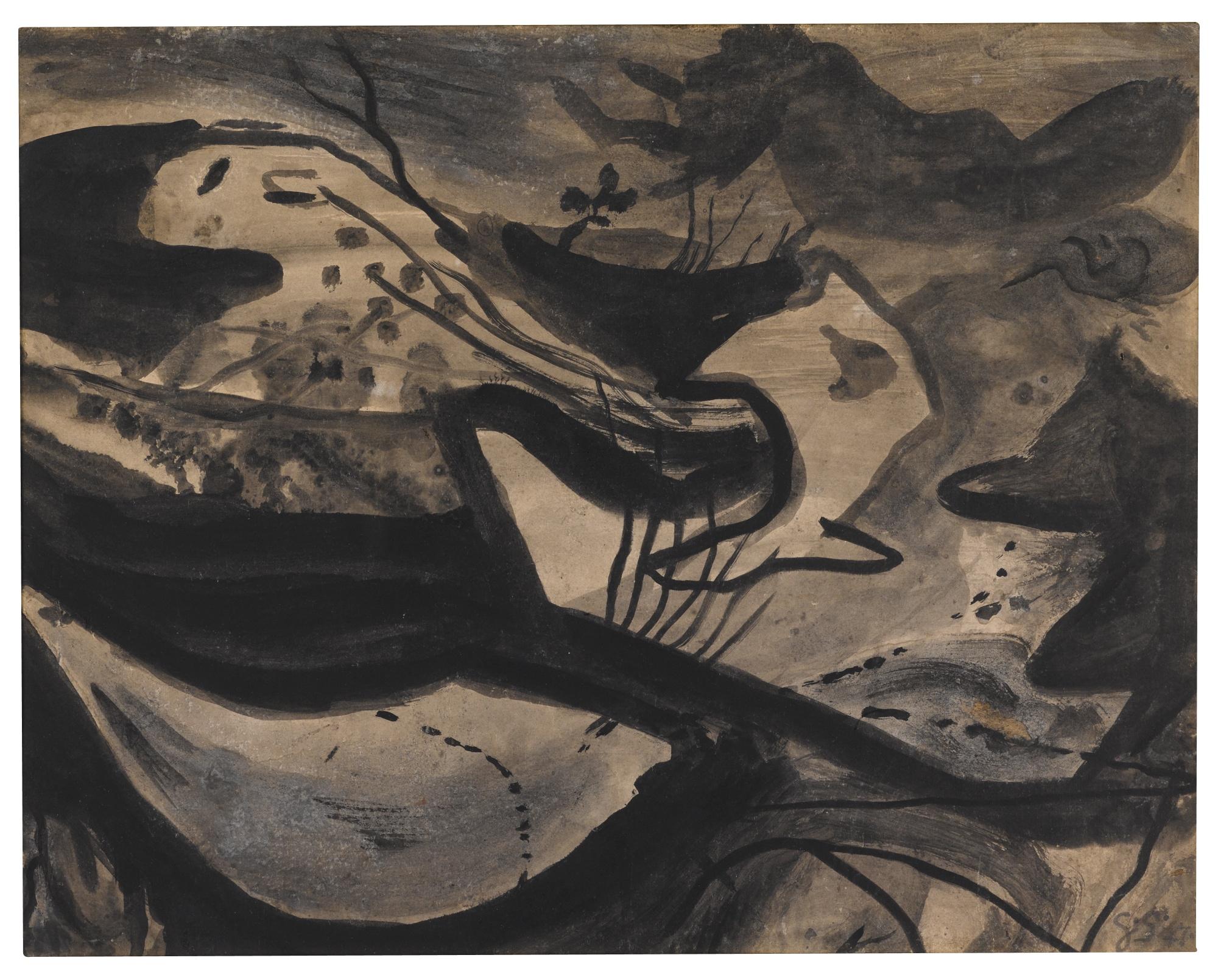 Graham Sutherland-Dark Landscape In Wales-1947