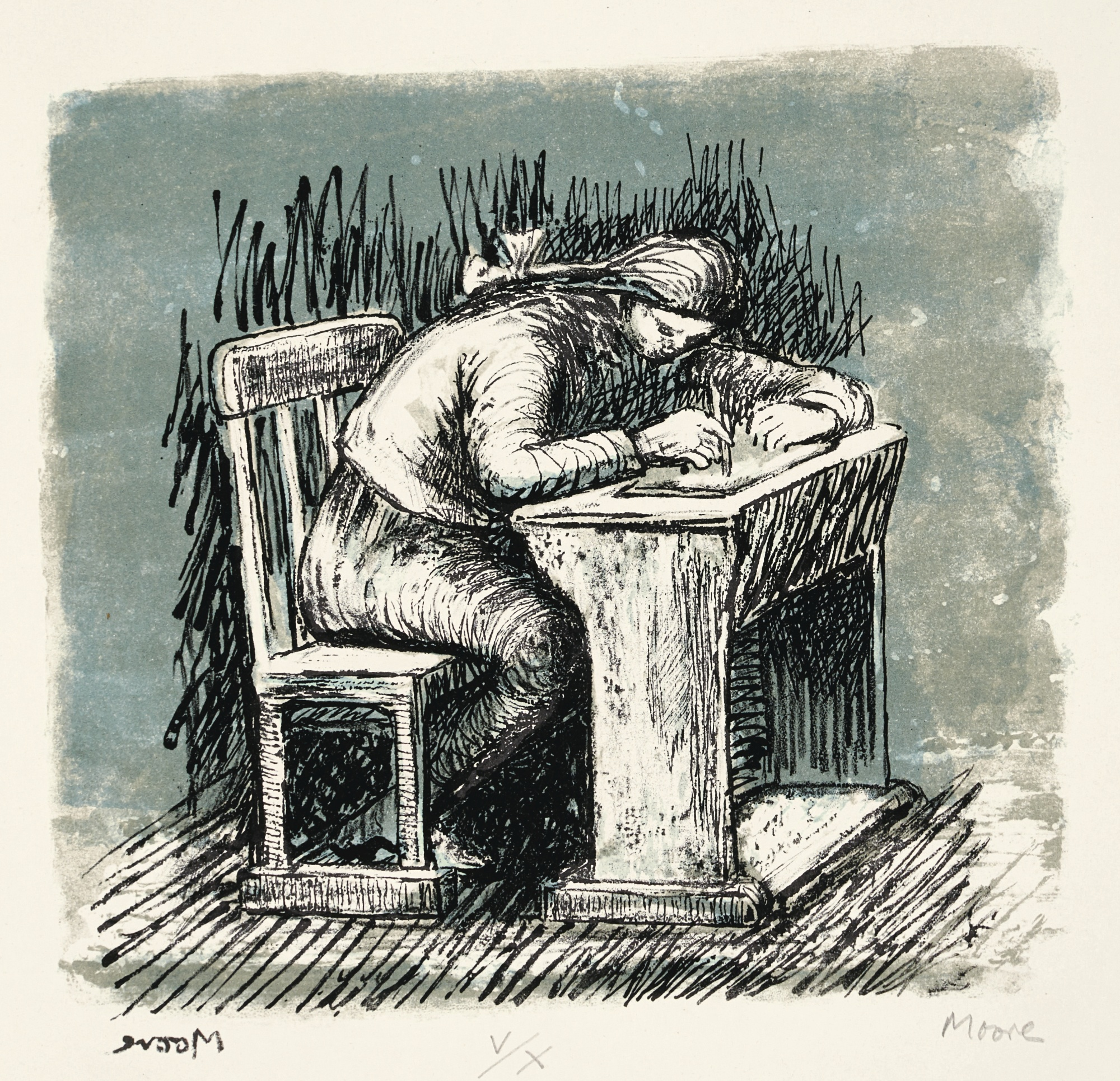 Henry Moore-Girl Seated At Desk VI (C. 383)-1974