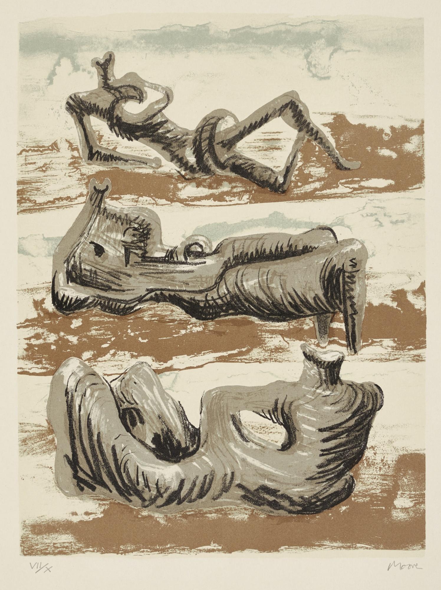 Henry Moore-Three Reclining Figures (C. 420)-1975