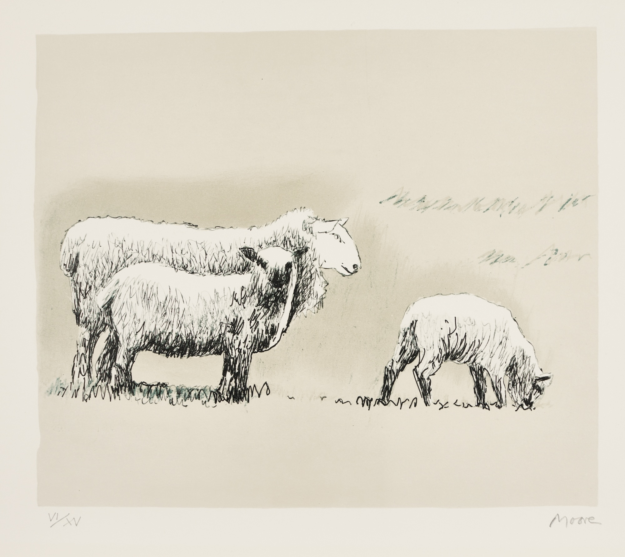 Henry Moore-Sheep In Landscape (C. 558)-1974
