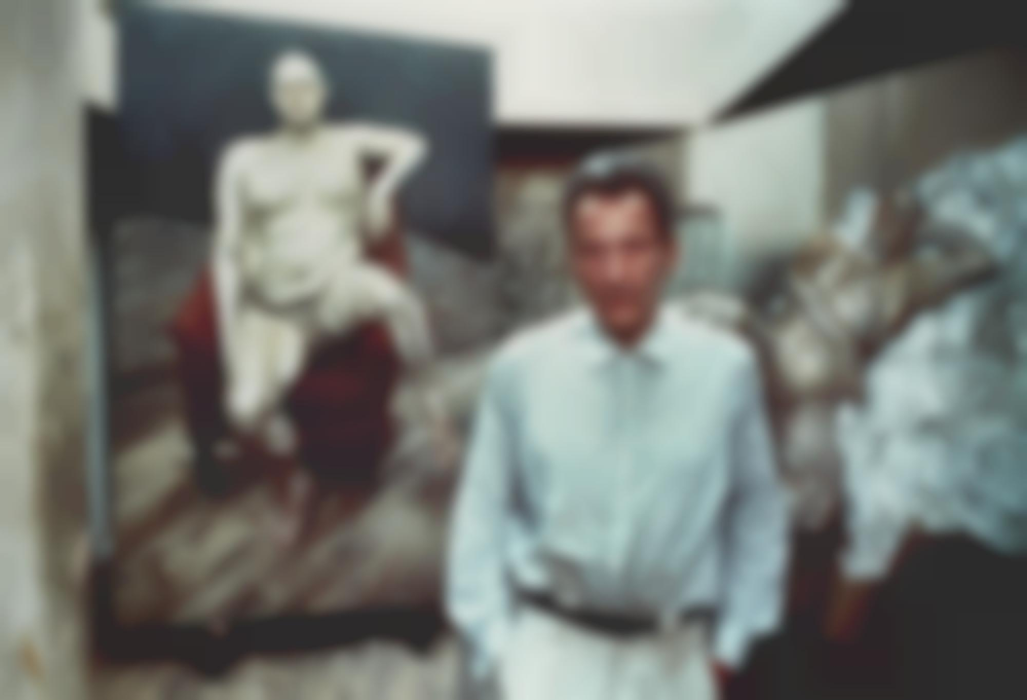 Bruce Bernard-Lucian Freud In His Studio With Two Paintings Of Leigh Bowery 1993-