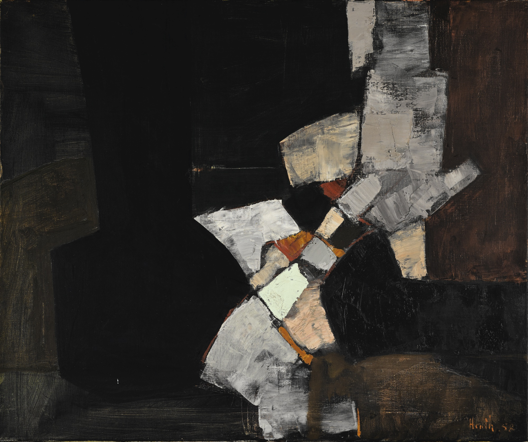 Adrian Heath-Composition Black And Grey-1958